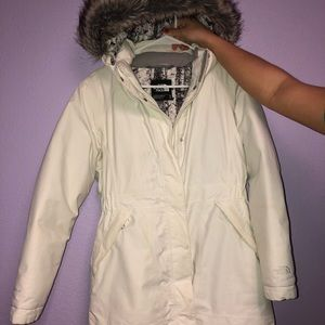 Women's North Face White Long Jacket